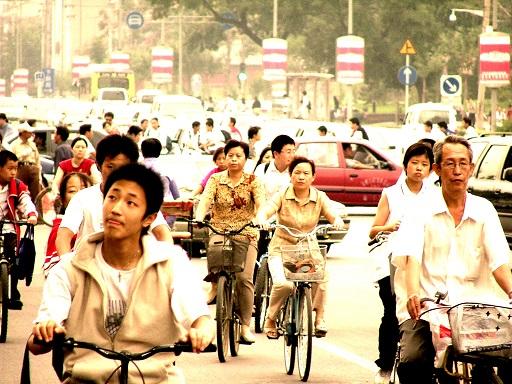 kínai városban biciklisták