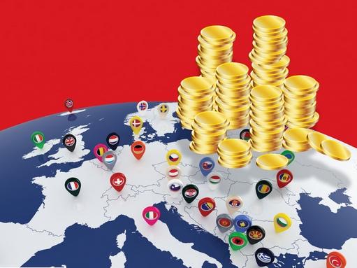 pénzhalmok Európa térképén