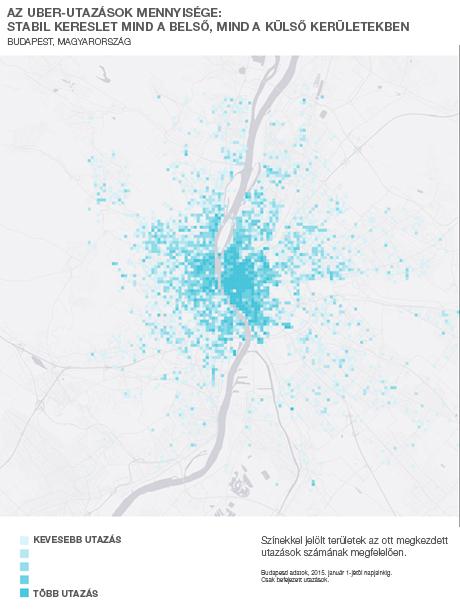 a metróvonalak mentén veszik a legtöbben igénybe az Uber-t