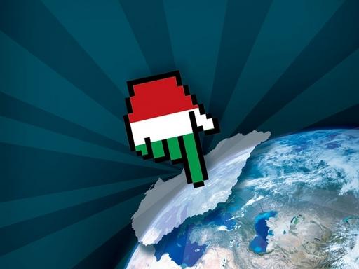 Magyarország térképre mutató kéz