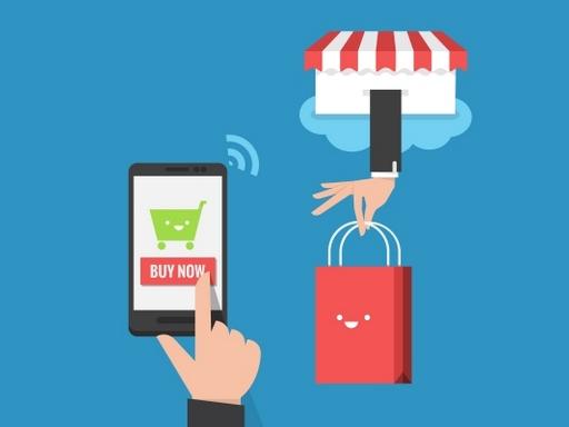 mobiltelefonon vásárlás gombra kattintó kéz
