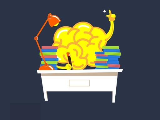 vicces grafika, egy agy ül egy íróasztal mögött