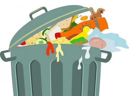 étel hulladék kukában