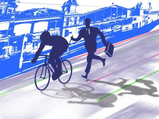 üzletember segíti egy biciklistát a sikerben