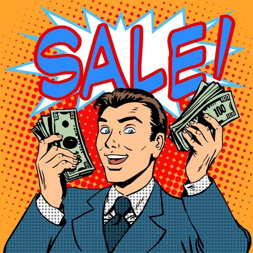 Sale announcement business concept businessman with money