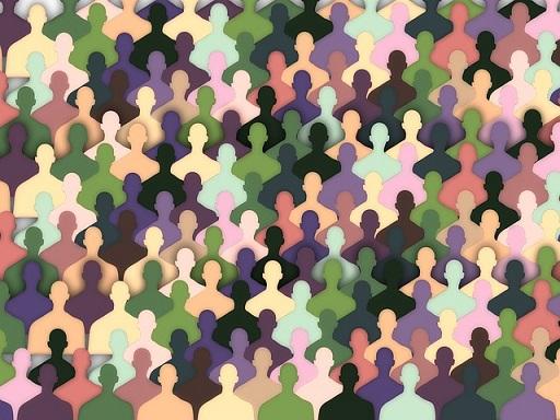 sok kis színes ember tölti be a képet