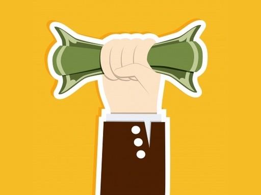 magasba emelt kéz egy bankót fog