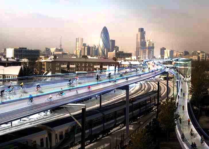 Így nézne ki Fosterék bicikliújta Londonban (fotó: Foster & Partners)