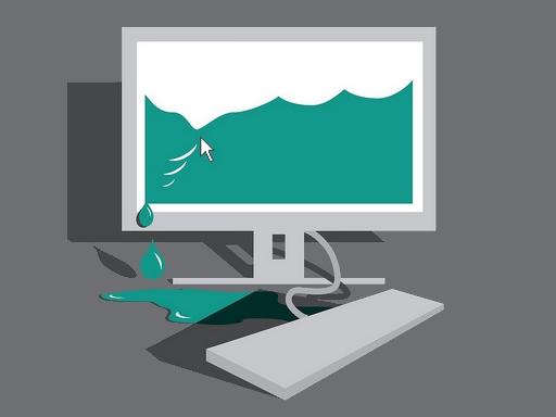 grafika - egy monitoron lévő képből szivárog a víz