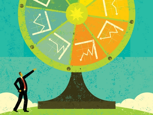 Financial Fortune Wheel A businessman, uncertain of his company's future, rolls the Fortune Wheel to guess what will happen. The Fortune Wheel has up, down, and break even financial charts that can be landed on. The man & Fortune Wheel are also on a separate labeled layer from the background.