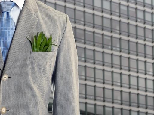 üzletember, öltönyzsebében fűcsomóval