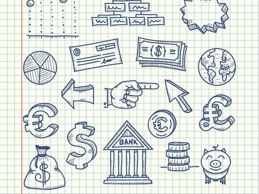 jegyzettömbbe rajzolt bank és pénz szimbólumok