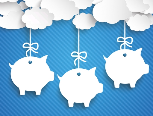 Paper clouds with piggy bank price stickers on the blue background