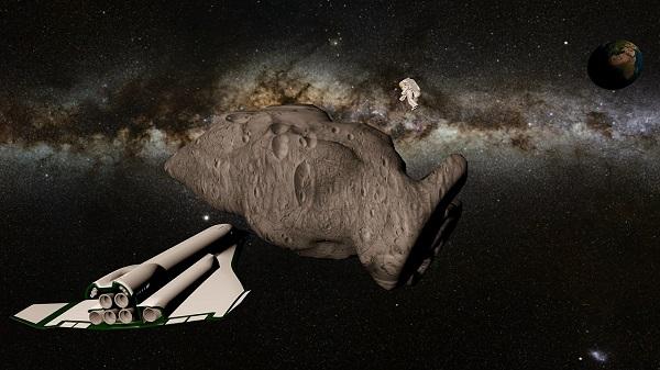 űrhajó egy aszteroida felé tart