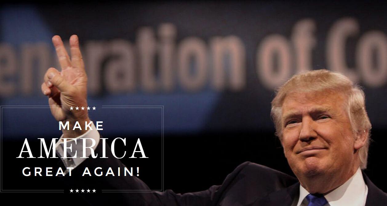 A sérókirály honlapjának nyitóképe (www.donaldjtrump.com)