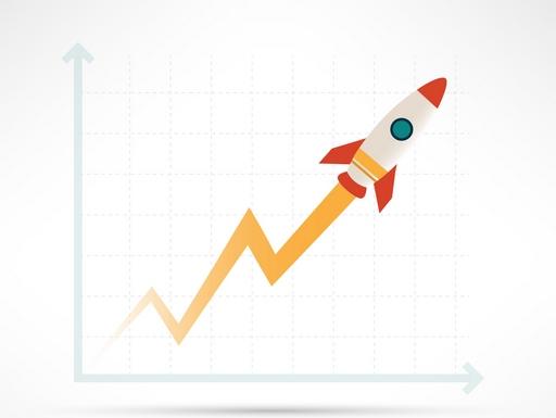 rakétaként kilövő növekedés grafikon