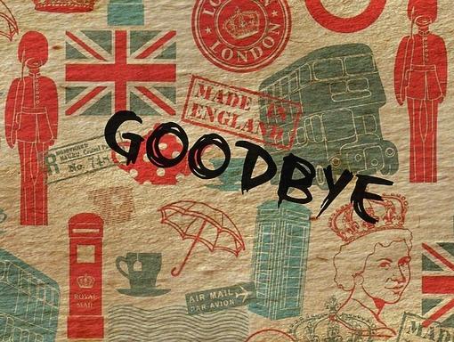 goodbye felirat angol motívumokkal