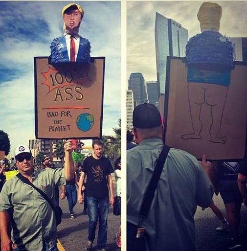 Egy Trump-ellenes transzparens a Los Angeles-i tüntetésről (fotó: Facebook/Dave Vamos)