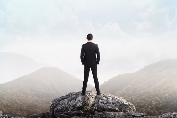 Business man standing on the top of the mountain looking at the valley. Business success concept