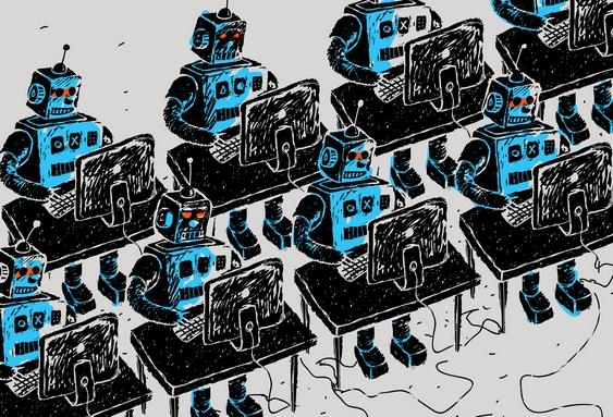 robotok gép előtt dolgoznak