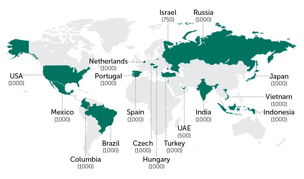 A válaszadók földrajzi eloszlása - Kép forrása: Kaspersky Lab