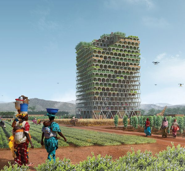 Egy vertikális farm terve. Díjat is kapott. (fotó: Pinterest, Pawel Lipiński & Mateusz Frankowski)