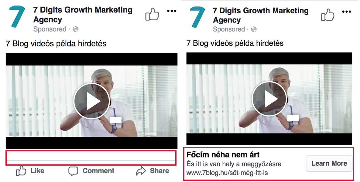 Facebook videós hirdetés előnézetek – CTA nélkül és CTA-val - 7digits