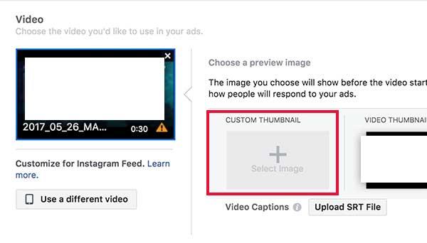 A Facebook videó thumbnail kép feltöltési helye - 7digits