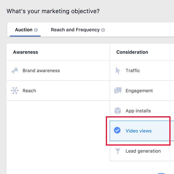 Facebook video views kampánycél és a fizetés optimalizálási beállítás - 7digits