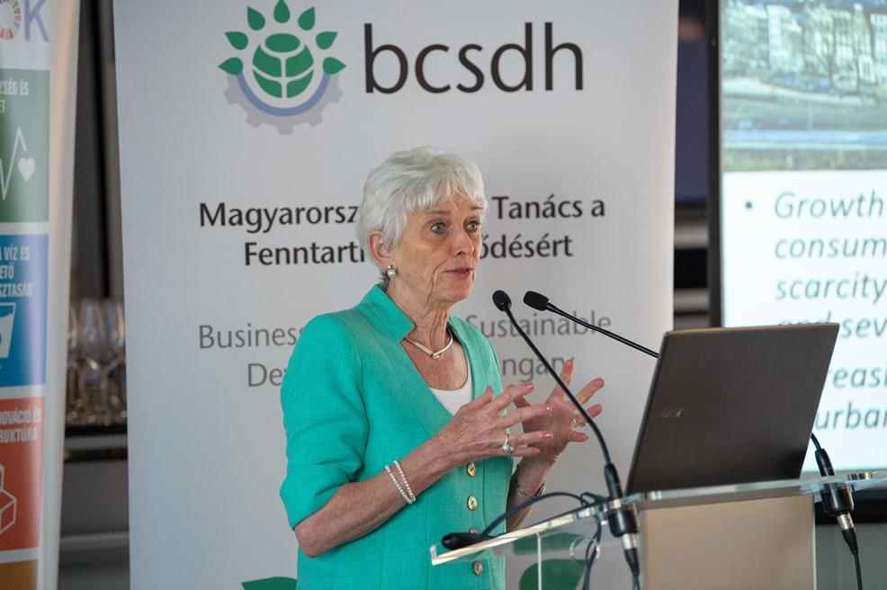 Jacqueline Cramer a Magyarországi Üzleti Tanács a Fenntartható Fejlődésért rendezvényén. (fotó: BCSDH)