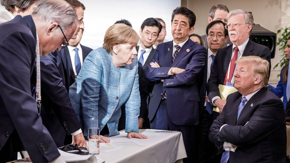 A g7-országok vezetői a kanadai csúcstalálkozón Forrás: Bundesregierung/Jesco Denzel