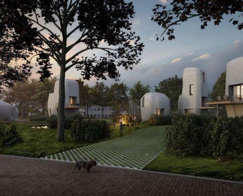 Ilyen lesz a 3D-nyomtatott lakótelep Eindhovenben. (Fotó: Van Wijnen)