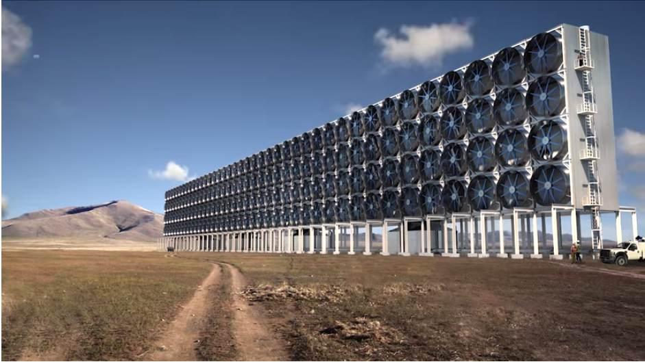 Így nézne ki a módszer ipari méretű alkalmazása. (Fotó: YouTube/Carbon Engineering)