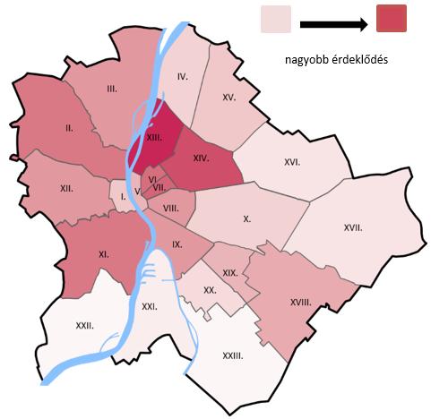 Budapesti kerületek népszerűsége a lakáskeresés szempontjából (Forrás: Duna House )