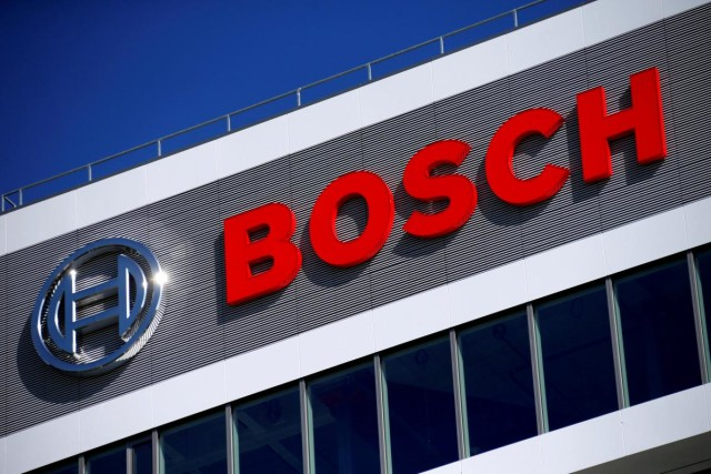 FILE PHOTO - A company logo on BOSCH building is pictured at the company's new research and advance development centre Campus Renningen