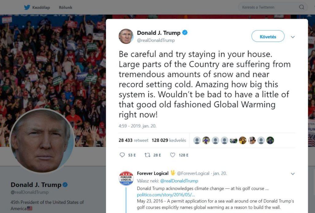Trump megint azon élcelődik, hogy nincs is globális felmelegedés - hiszen megjött a hideg. (Twitter)