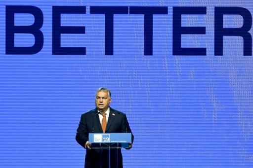 Orbán Viktor miniszterelnök a Nemzetközi Távközlési Egyesület konferenciájának megnyitóján. (Fotó: MTI/Koszticsák Szilárd)